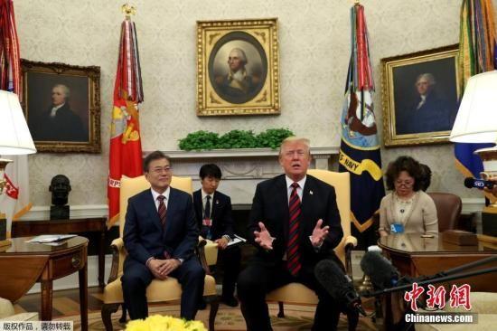 资料图:当地时间2018年5月21日下午,韩国总统文在寅抵达美国华盛顿,开始对美国为期4天的访问。