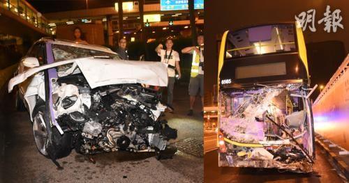 16日凌晨,香港红�|海底隧道发生3车相撞意外,11人受伤。图片来源:香港《明报》/蔡方山 摄