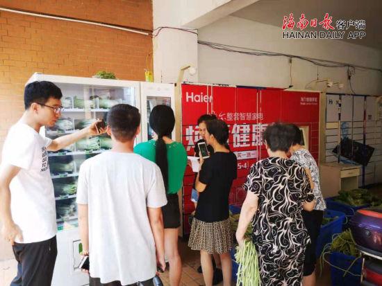 """海口两小区现""""卖菜机器人"""",叶菜价格比市场至少便宜10%,受到市民欢迎。"""