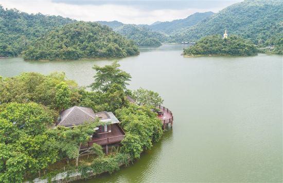 保亭神玉岛山水相依,环境安静幽雅,是一个度假休闲的好去处。 本报记者 武威 摄