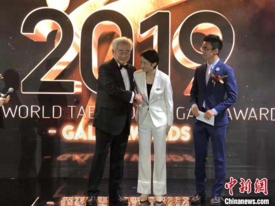 在2019年世界跆拳道联盟年度GALA典礼上,吴静钰获年度最佳女运动员提名。侯昆 供图