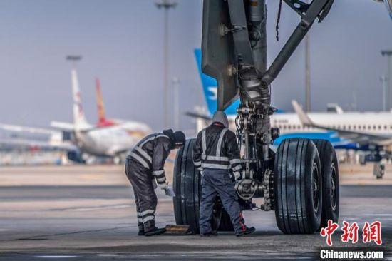 图为工程师进行飞机航前例行检查。 蔡林昊 摄