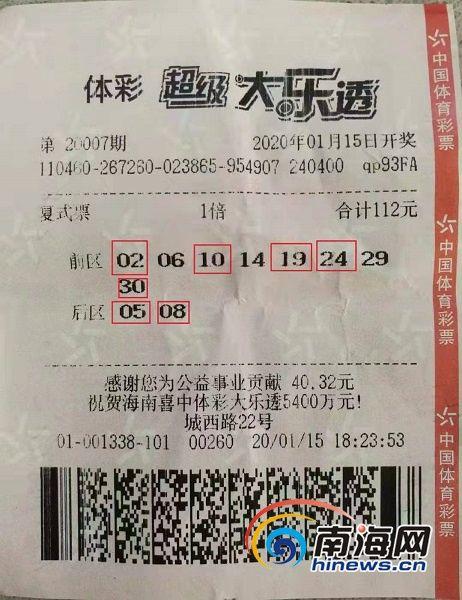 """1月15日,体彩大乐透第20007期开奖中,海口购彩者喜摘1个721万元的新春""""大红包""""。图为中奖彩票。(海南体彩提供)"""
