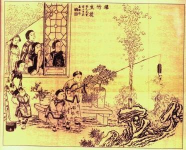 清末过年时儿童喜放鞭炮情景的年画。