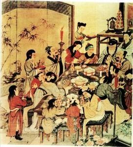 古时一家四代人除夕夜守岁时其乐陶陶的幸福情景。