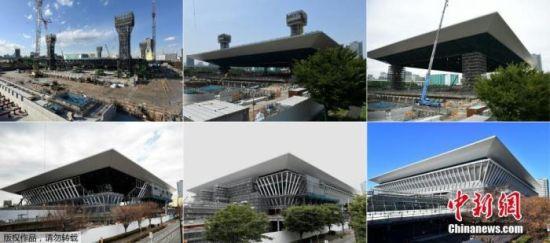 资料图:2018年2月6日至2019年11月2日,东京奥林匹克水上运动中心的对比图片。