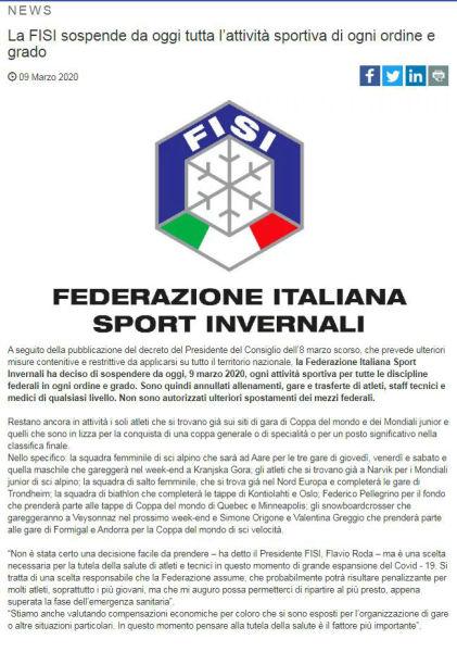 意大利奥委会宣布暂停所有体育赛事 意甲联赛面临停摆