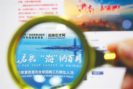 4月6日,海招网首页展示海南面向全球招聘人才的信息。 海南日报记者 李天平 摄