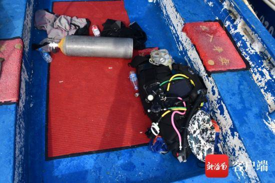 警方查扣的非法潜水装备。