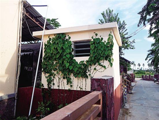 三亚崖州区农村新建户厕外观与美丽乡村融合。