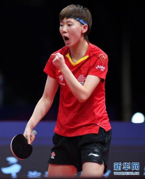 资料图:王曼昱在比赛中庆祝得分。图片来源:新华网 新华社记者 刘军喜 摄
