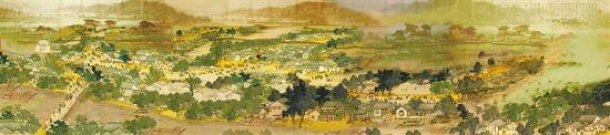 """明代的崖州有""""小江南""""之美誉。图为今人画笔下的古代琼南繁华图景。卢家福 绘"""