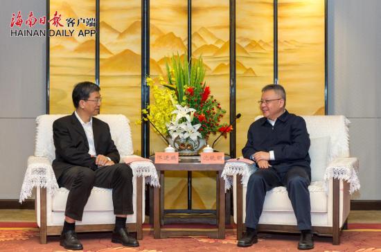 2021年1月5日下午,省委书记沈晓明在海口会见中国科协党组书记、常务副主席怀进鹏。海南日报记者 宋国强 摄