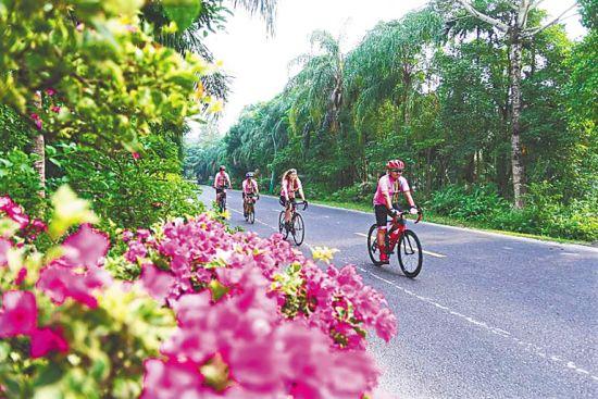 在万宁滨海旅游公路,骑行爱好者在骑行。袁琛 摄