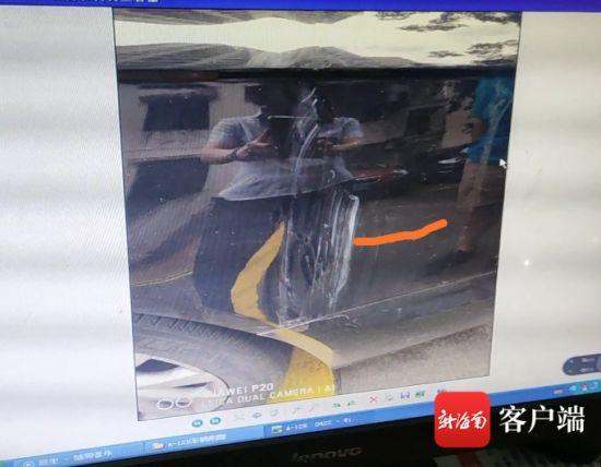 图为黄先生的车被树枝划损。黄先生供图
