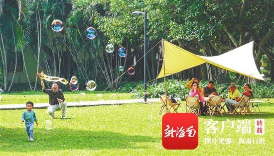 2月16日,海口市万绿园,绿草如茵,市民游客尽情享受春节假期的欢乐。陈元才 摄