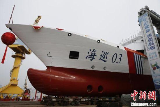 """图为5千吨级海事巡航救助船""""海巡03""""轮。 海南海事局供图"""