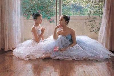 手绘绝美芭蕾舞蹈