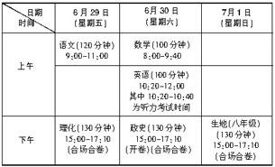 考生注意:海南今年中招报名及考试时间有调整