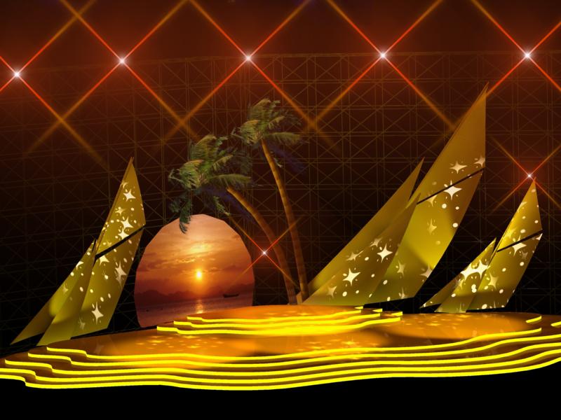 """其构思来源于独具海岛特色的""""椰风海韵"""",表演舞台形似一只金色的海贝"""