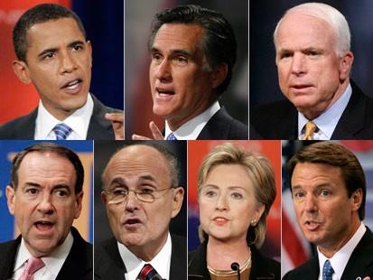 2008年美国总统选战中民主,共和两党主要参选人.-美总统选举今正...图片 42409 413x310