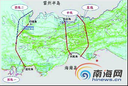 报告确定以建设连接广东省湛江市徐闻县灯楼角和海南省澄迈县道伦角的