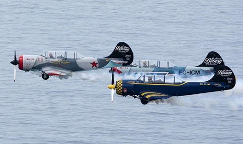 西班牙老式飞机飞行表演