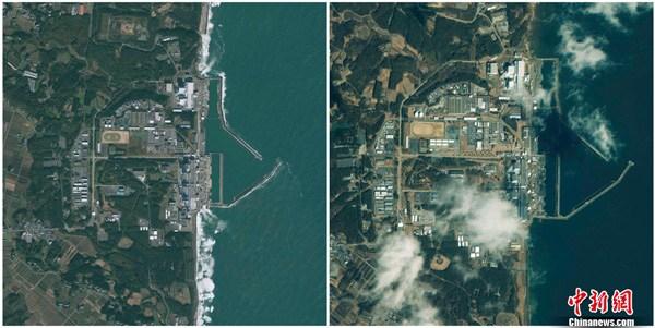 福岛县第一核电站海啸地震前后对比图