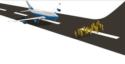 飞机降落后,所有乘客仍然留在机舱中等待