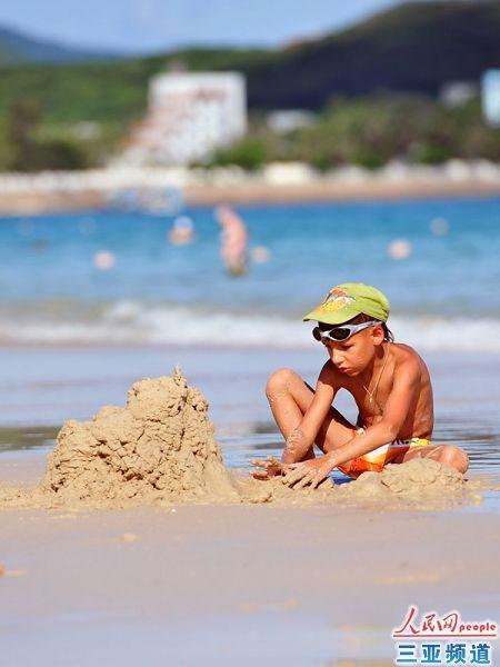 海浪沙堡手绘图片