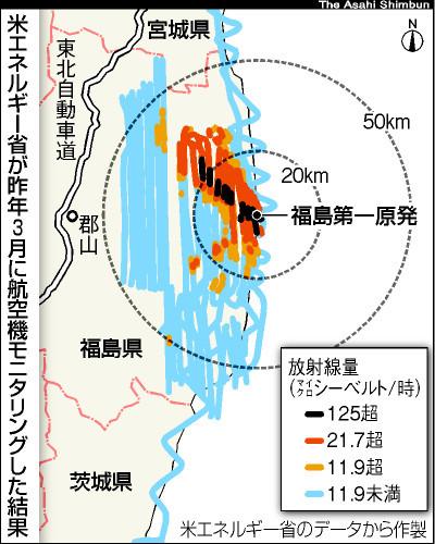 美国政府测定的福岛核电站核扩散图