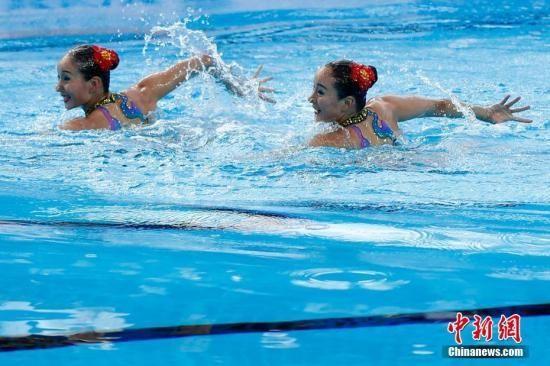 间7月14日,2017国际泳联世锦赛花样游泳双人技术自选项目预赛在