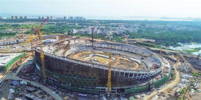 海口五源河体育场主体结构封顶