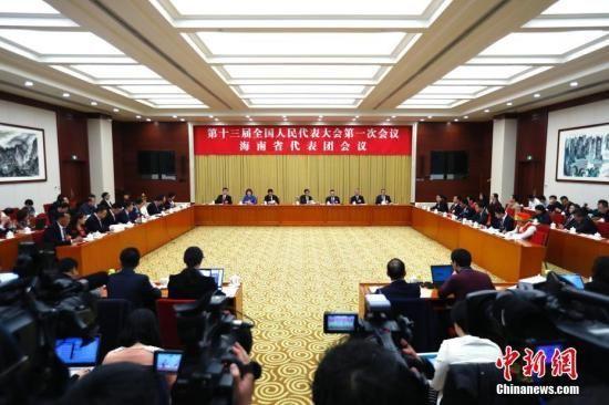 3月6日,十三届全国人大一次会议海南省代表团在北京举行全体会议,审议政府工作报告。 中新社记者 富田 摄