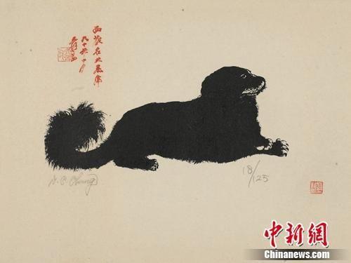 张大千《小黑虎》,丝网版画,50cm×61cm