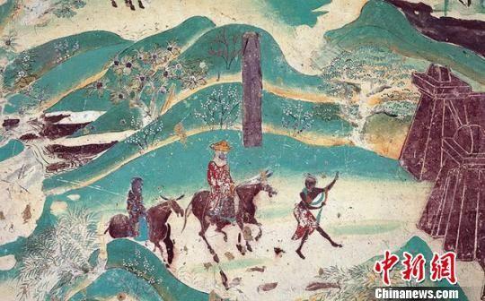图为莫高窟第217窟—春山踏青(盛唐)。敦煌研究院供图