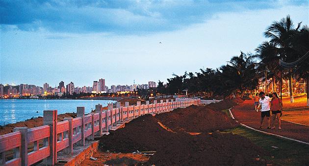 海口修复受损海岸线