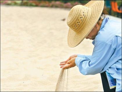 海南东方天然沙子铺盖在奥运会沙滩排球场上