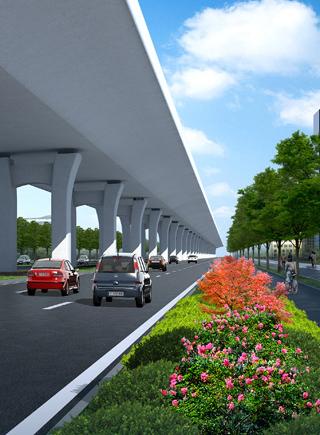 景观桥扮靓椰城         造型:箱梁结构   主线上部结构采用